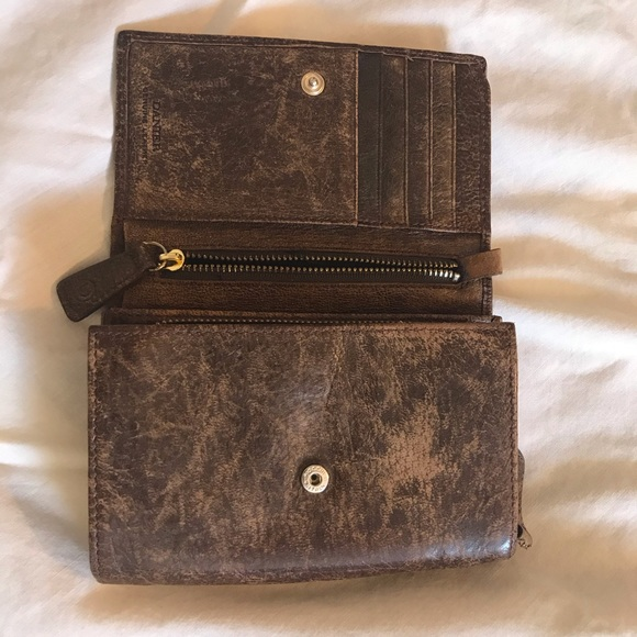 Authentic Danier genuine leather accordian wallet
